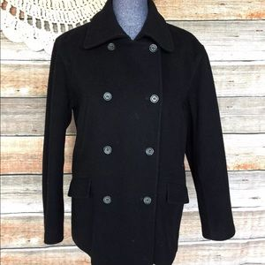 J. Crew Black Wool Blend Double Breasted Peacoat